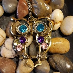 Multi Gemstone Owl Necklace Antiqued